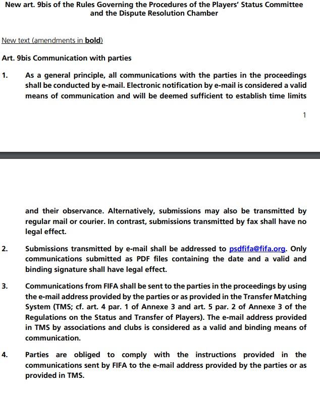 Статья 9bis ФИФА